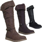 10208 Womens Flat Sole Knee High Boots Fur Linned Pull On Side Zip Round Toe Lad