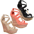 I HEART COLLECTION JACKY-13 Women's Strap Open Toe Straps Wedges