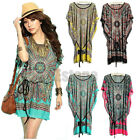 Womens Plus Size Summer Vintage Bohemian Ice Silk Batwing-sleeve Casual Dresses