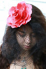 FLOWER HAIR CLIP WITH VEIL- GRUNGE INDIE HIPSTER PASTEL GOTH BRIDE