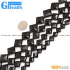 Diagonal Faceted Black Agate Gemstone DIY Jewelry Crafts Making  Loose Beads 15""