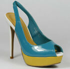 Turquoise Teal Blue Yellow White Open Toe Slingback Platform Heel Anne Michelle