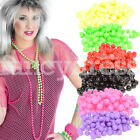 Long NEON Beads Necklace Fancy Dress 80's Parties Tutu Costume Beach NEW