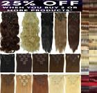 Clip In Hair Extensions 15 18 22 inch short Long Full Head 8 pieces All Colours