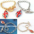 Fashion Alloy Glazed Dangle UK Flag Lip Link Chain Charm OT Bracelet Bangle Gift