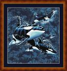 ORCAS UNDERWATER - 14 COUNT CROSS STITCH CHART (DMC THREADS) FREE PP WORLDWIDE