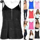 Womens Ladies Front Zip Cami Strappy Flared Swing Tank T Shirt Vest Dress Top