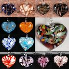 Foil Lampwork Murano Glass Striped Heart Bead Flower Charms Pendant For Necklace