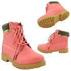 Girls Hiking Ankle Boots Lace Up Lug Sole Faux Leather Zipper Trim Fuchsia