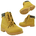 Girls Hiking Ankle Boots Lace Up Lug Sole Faux Leather Zipper Trim Camel