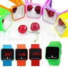 Unisex Mirror Touch LED Digital Time Trendy Sport Watches Silicone Wrist Watch