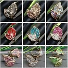 Women Leaf Crystal Glass Rhinestone Cocktail Party Adjustable Finger Ring US 6.5