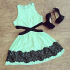 Sexy Lady Summer Sleeveless Lace Casual Evening Party Short Slim Dress LA CA A2
