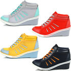 Brand New Lace Up Casual Shoes For Women Heels Fashion Ankle Wedge Sneakers
