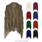 LADIES NEW WOMENS WARM FUR TASSEL KNITTED PONCHO CAPE WRAP SHAWL JUMPER SWEATER