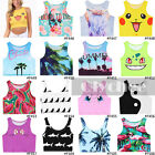 Summer Casual Women Cami Tank Vest Sleeveless T-Shirt Cartoon Crop Top Midriff