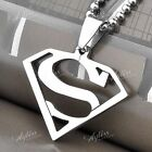 Punk Mens Stainless Steel Hero Superman Symbol Pendant Necklace Link Chain Gift