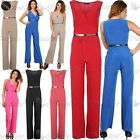 Womens Ladies All In One Wrap Plunge V Neck Gold Belt Palazzo Playsuit Jumpsuit