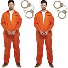 2 X MENS ORANGE PRISONER CONVICT JUMPSUIT OVERALL FANCY DRESS COSTUMES HALLOWEEN