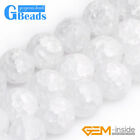 "Round Gemstone White Crackle Rock Quartz DIY Jewelry Making Loose Beads15""4-14mm"
