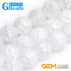 "Natural Stone White Crackle Rock Quartz Round Beads For Jewelry Making 15""4-14mm"