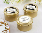 24 Personalized Classic Wedding Theme Round Gold Candy Tins Wedding Favors