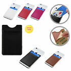 BLACK LEATHER POCKET ID CARD/MONEY HOLDER FOR PHONES/CASES STICKY REAR ADHESIVE
