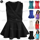 Womens Ladies Tuxedo Coat Collar Wrap Flared Stretch Peplum Frill Mini Dress Top