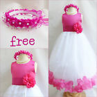 Charming Fuchsia/Hot pink rose petals flower girl dress FREE CROWN all sizes