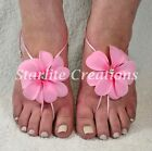 Ladies PINK silk flower ALOHA Barefoot Sandals One-Size-fit beach Bridal