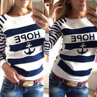 Fashion Casual Womens Round Neck Pullover T-Shirt Long Sleeve Tops Blouse 4 Size