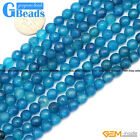 6mm Round Faceted Gemstone Dark Blue Agate Jewelry Making Loose Beads Strand 15""