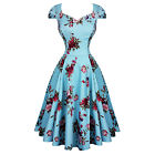Hearts & Roses London Blue Floral Chintz Retro 1950s Flared Tea Dress