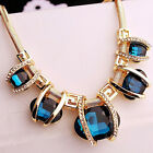 Fashion Women Crystal Pendant Chain Choker Chunky Statement Bib Blue Necklace