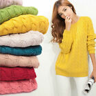 Women Round Neck Long Sleeve Knitted Pullover Jumper Loose Sweater Knitwear Tops