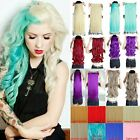 One PCS Half Head Clip In Hair Extensions Human Hair Sythetic Curly Sky Blue x6