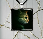 CAT GREEN EYES FACE PERFIL PENDANTS NECKLACE  -tfg6Z