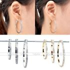 Pair Cluster Pave Clear Czech Crystal Circle Hoop Earrings Cool Gift U Pick Size