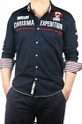 Carisma Original Men's Long Sleeve Shirt Casual Shirt, White and Blue New Men