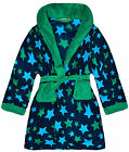 Boys Star Printed Soft Fleece Dressing Gown New Kids Bath Robes Ages 2-6 Years
