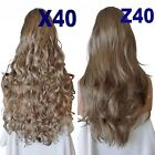 ASH BROWN Long Curly Layered Half Wig Hair Piece Ladies 3/4 Wig Fall Clip in #18
