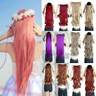 Long Straight Hair Extension One piece 5 Clips-in 3/4 Full Head Woman Party ay7
