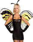 Sexy Womens Mistress Gothic Yellow Butterfly Wings Halloween Costume 4Pc Set S-L