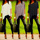 Womens Casual One Shoulder Batwing Short Sleeve Loose Tops T-shirt Plain Blouses