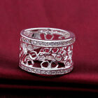 925Sterling Silver Zircon Hollow Basket Wide Accessories Ring Size 7 8 FR571