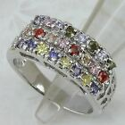 Size5 5.5 7.5 Great Nice Multi-Color CZ Gems Jewelry Gold Filled Lady Ring K1199