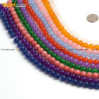 "Smooth Round Jade Gemstone DIY Jewelry Making Loose Beads Strand 15"", Color Dyed"