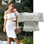 tp115 Celebrity Style Vintage Floral Crochet Lace Ruffled Off Shoulder Crop Top