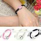 Punk Braided Cord Rope Bracelet Fit Buttons Charm Beads Snap On DIY