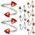 Pair twist barbell tragus bars spiral jewellery rings 9HNY -SELECT SIZE&DESIGN